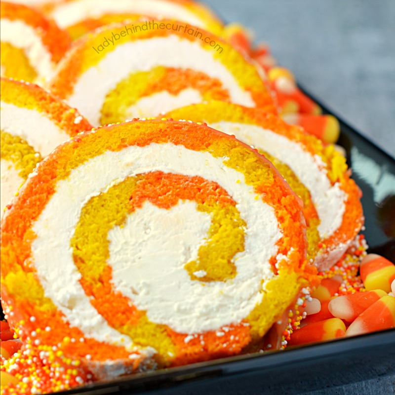 Candy Corn Vanilla Swiss Cake Roll