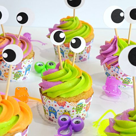 Double Vanilla Monster Party Cupcakes