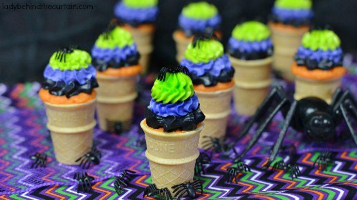 Halloween Orange Cream Mini Cone Cupcakes