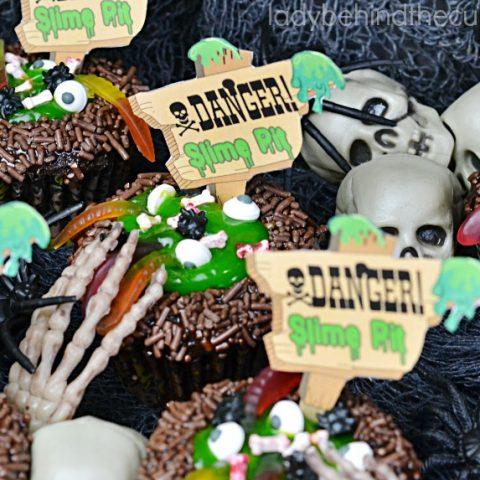 Slime Pit Halloween Cupcakes
