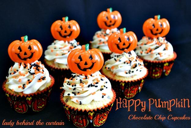 Happy Pumpkin Chocolate Chip Cupcakes