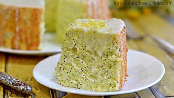 Lemon Poppy Seed Angel Cake