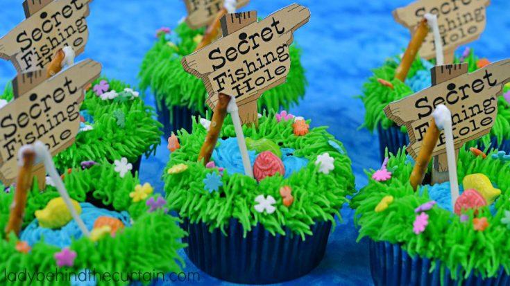 Secret Fishing Hole Devil's Food Cupcakes