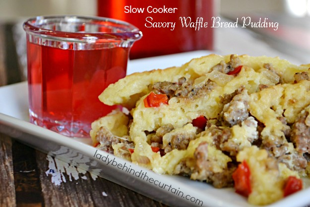 Slow Cooker Savory Waffle Bread Pudding