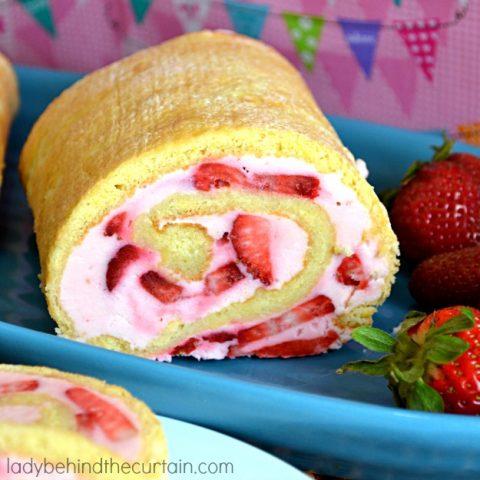 Strawberry Mallow Cake Roll