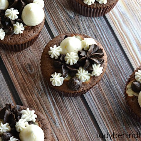 Triple Chocolate Fudge Cupcakes