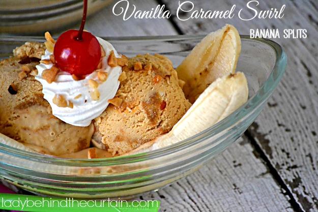 Vanilla Caramel Swirl Banana Splits