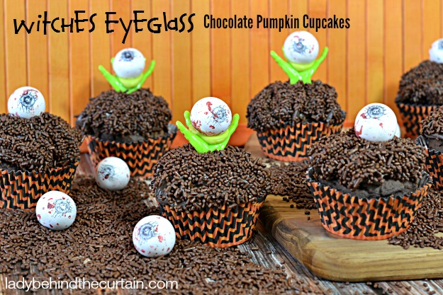 Witches Eyeglass Halloween Chocolate Pumpkin Cupcakes