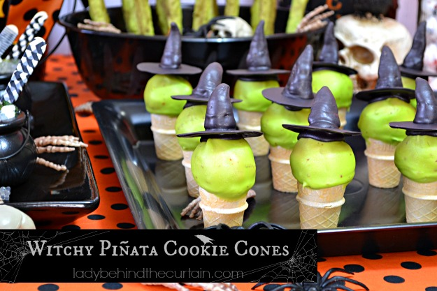 Witchy Piñata Halloween Cookie Cones