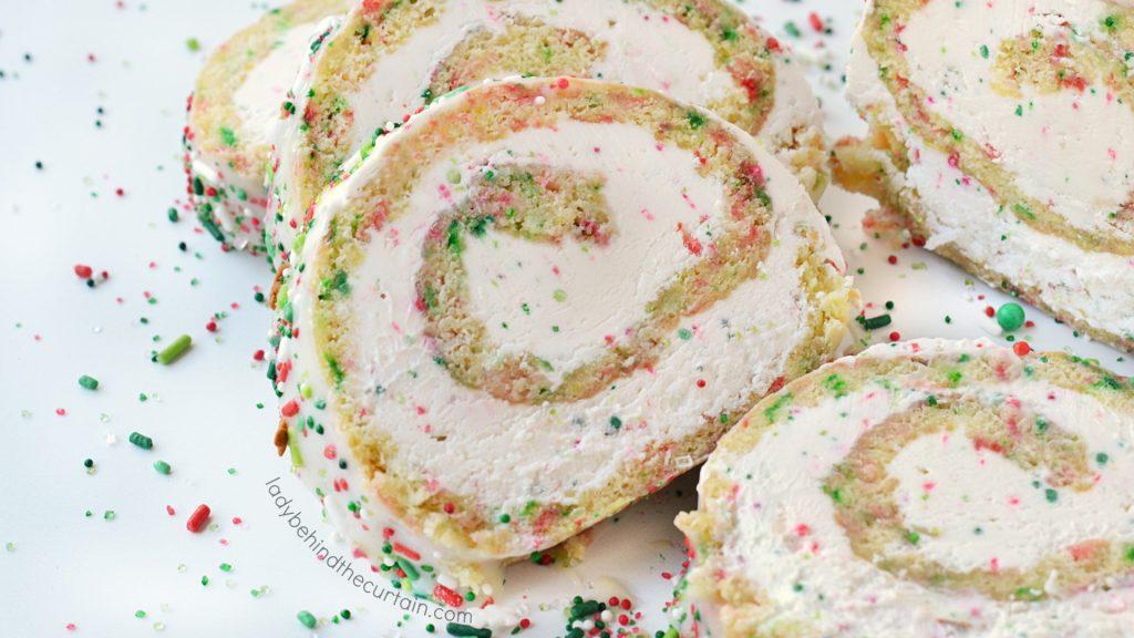 White Christmas Vanilla Swiss Cake Roll