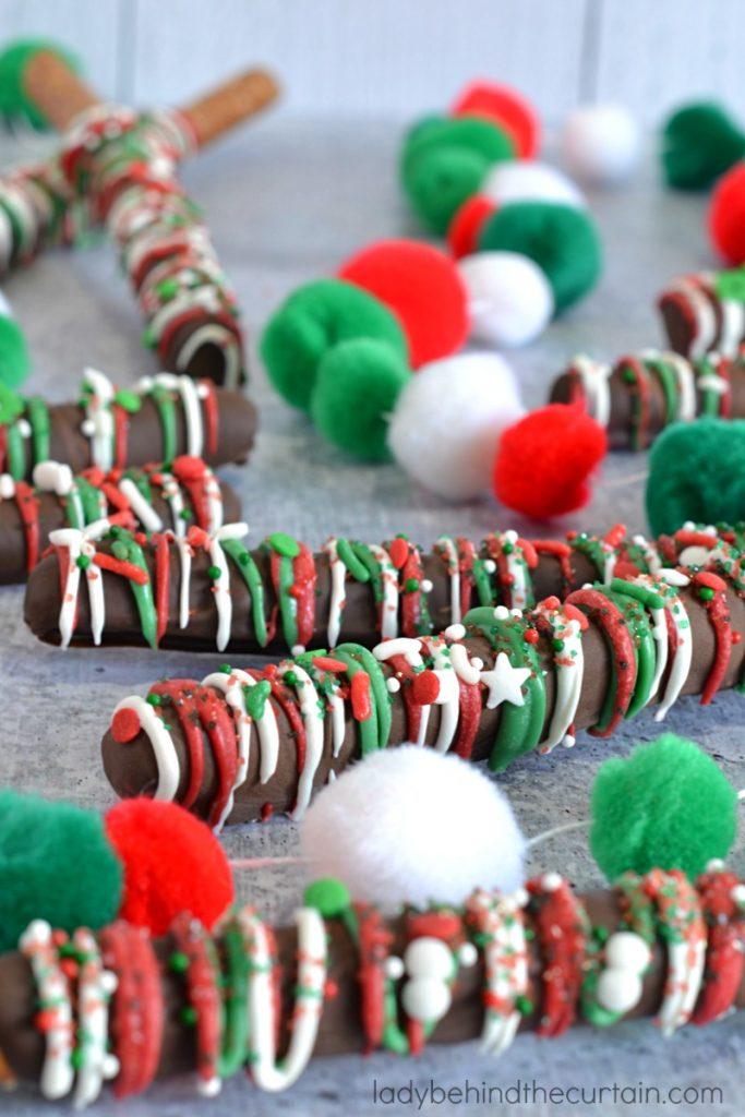 Dark Chocolate Christmas Decorated Pretzels