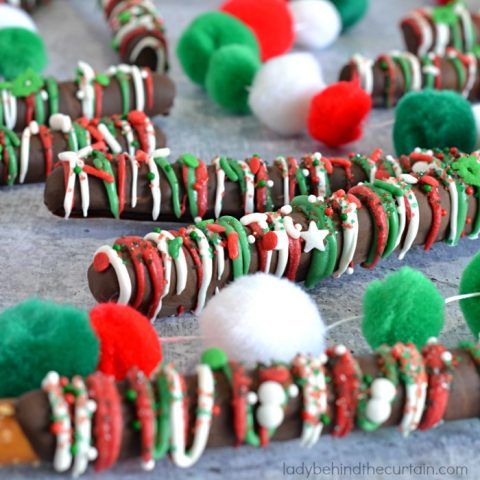 Dark Chocolate Christmas Decorated Pretzels