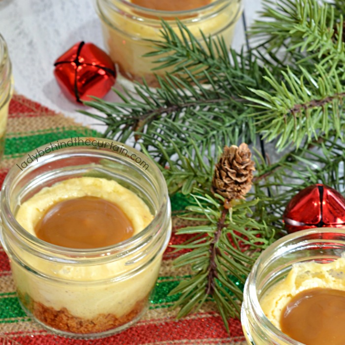 Mini Eggnog Cheesecakes with a Rum Caramel Drizzle
