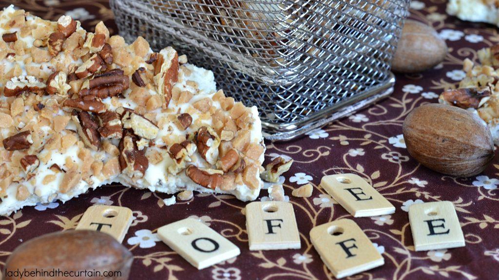 White Chocolate Toffee Pecan Bark