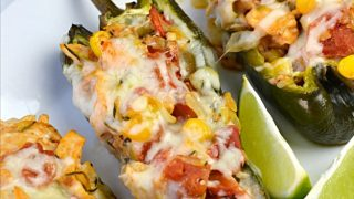 Chicken Filled Poblano Peppers