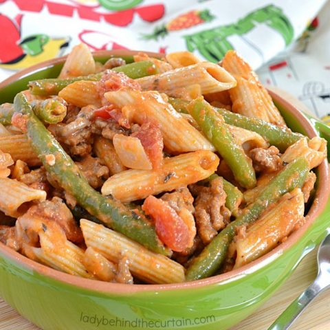 Light Red Pepper and Beef Pasta