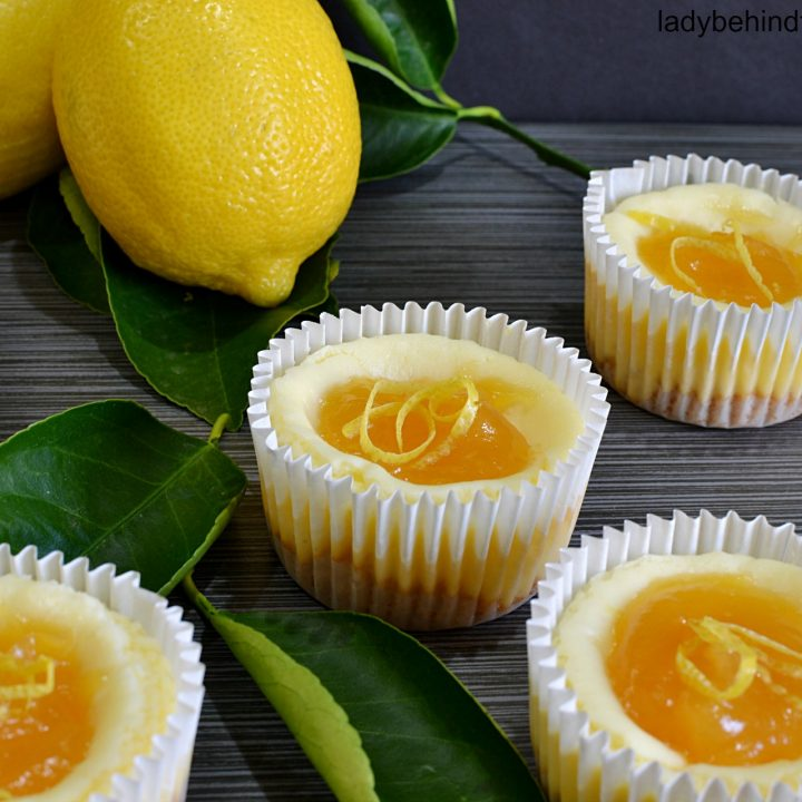 Semi Homemade Mini Lemon Glazed Cheesecakes