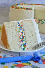 White Birthday Confetti Cake