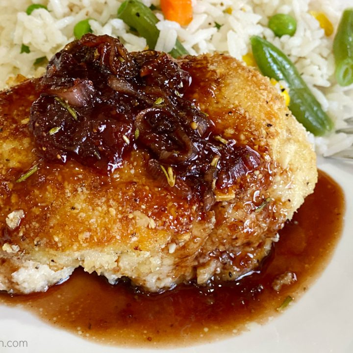 Almond Chicken with Strawberry—Balsamic Sauce