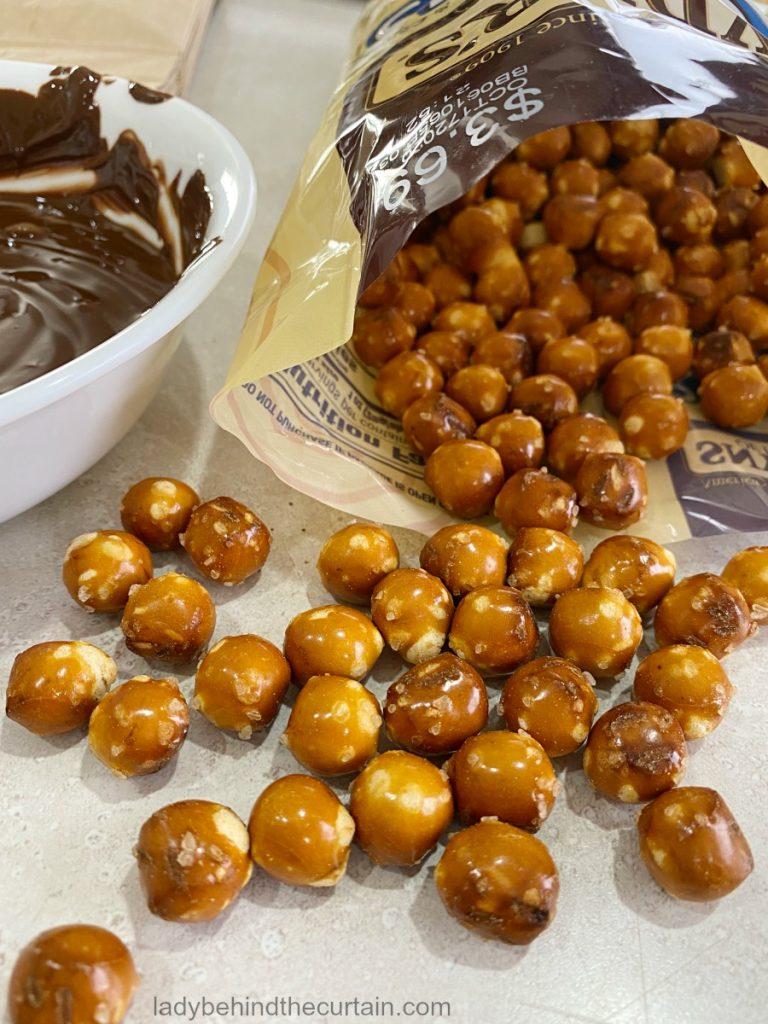Dark Chocolate Covered Pretzel Halloween Spider Eggs