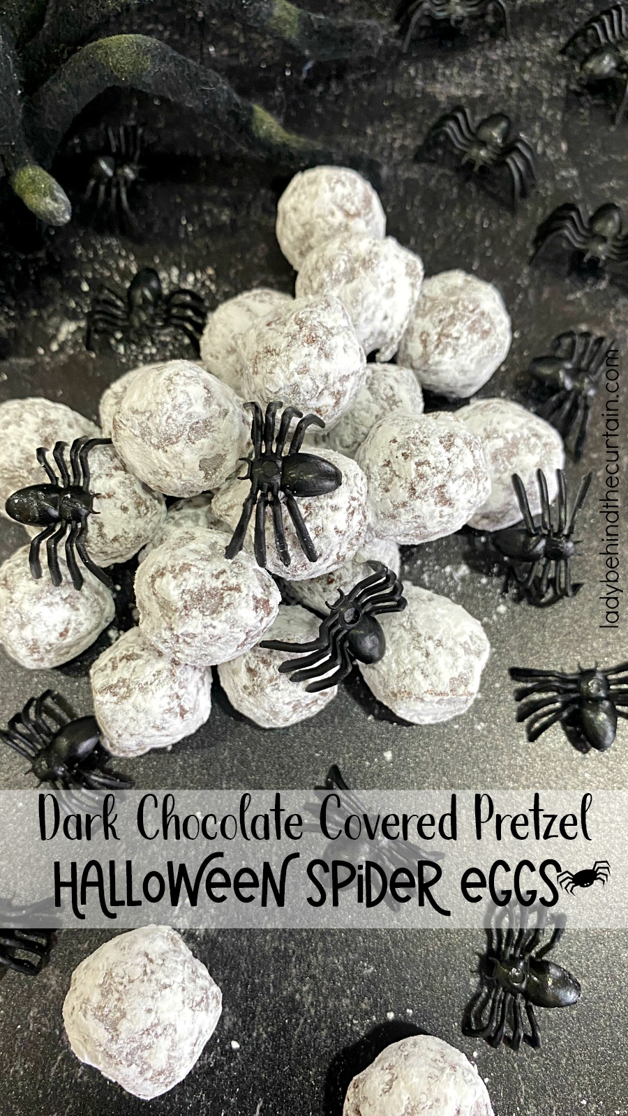 Dark Chocolate Covered Pretzel Halloween Spider Eggs