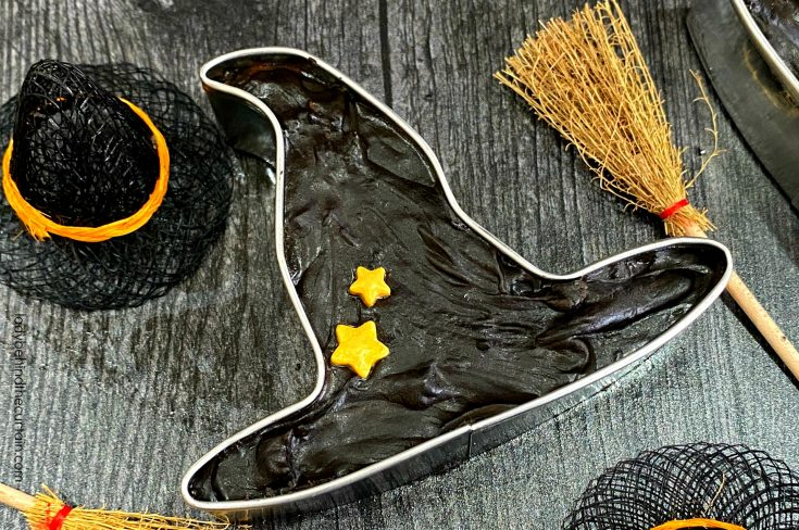 Dark Chocolate Witch Hat Cookie Cutter Filled Fudge