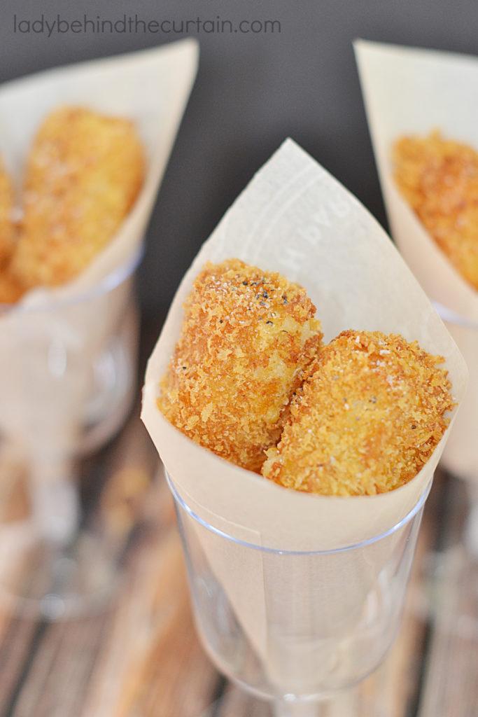 Cheesy Roasted Garlic Potato Croquettes